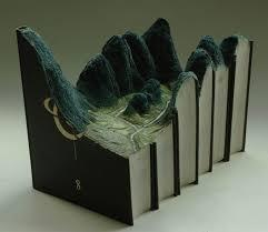 Topograhic landscape carved in a book