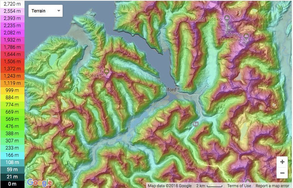 Topographic map of New Zealand