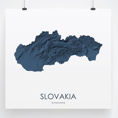 Slovakia Map 3D Midnight Blue