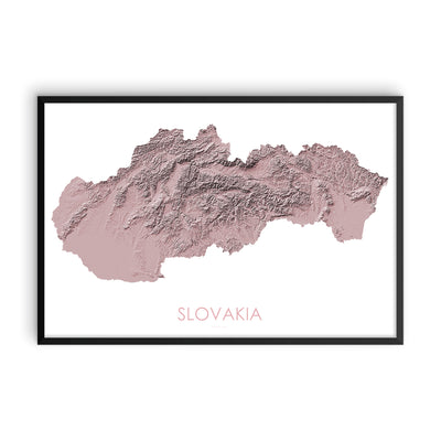 Slovakia Map 3D Rose