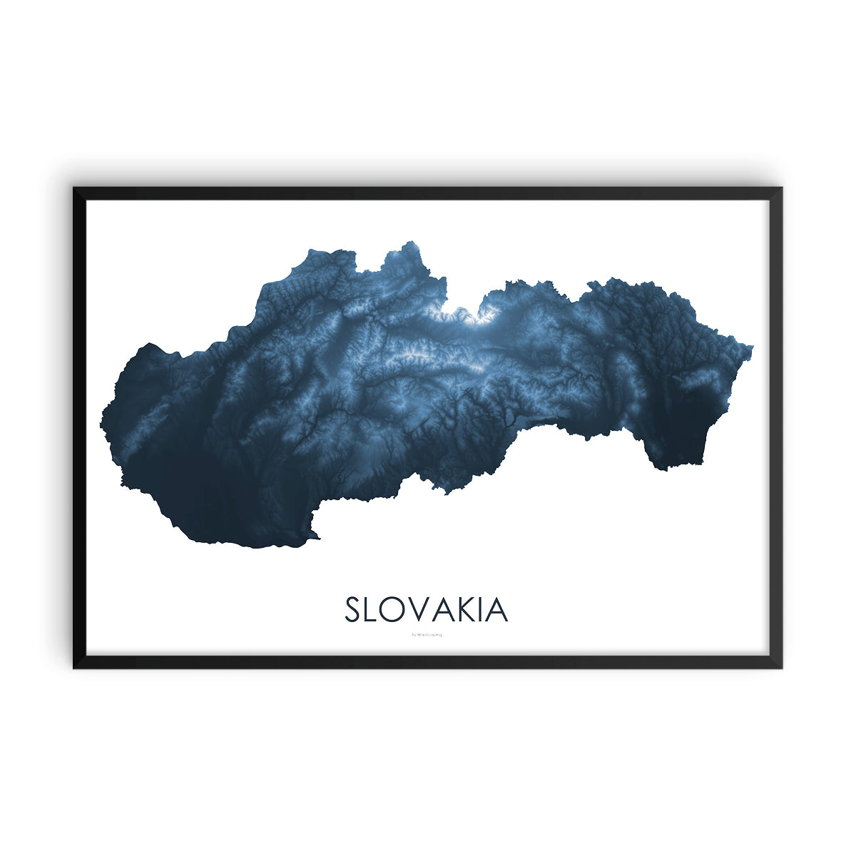Slovakia Map Midnight Blue