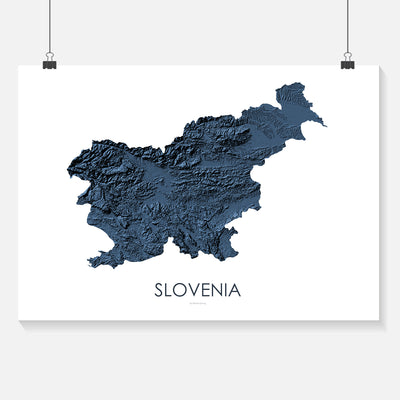 Slovenia Map 3D Midnight Blue
