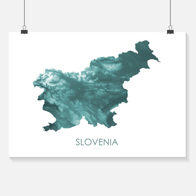 Slovenia Map Teal