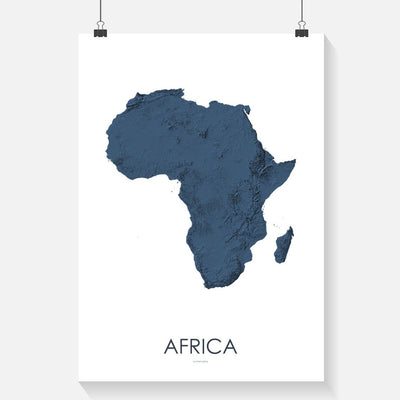 Africa Map 3D Midnight Blue-Topographic Map