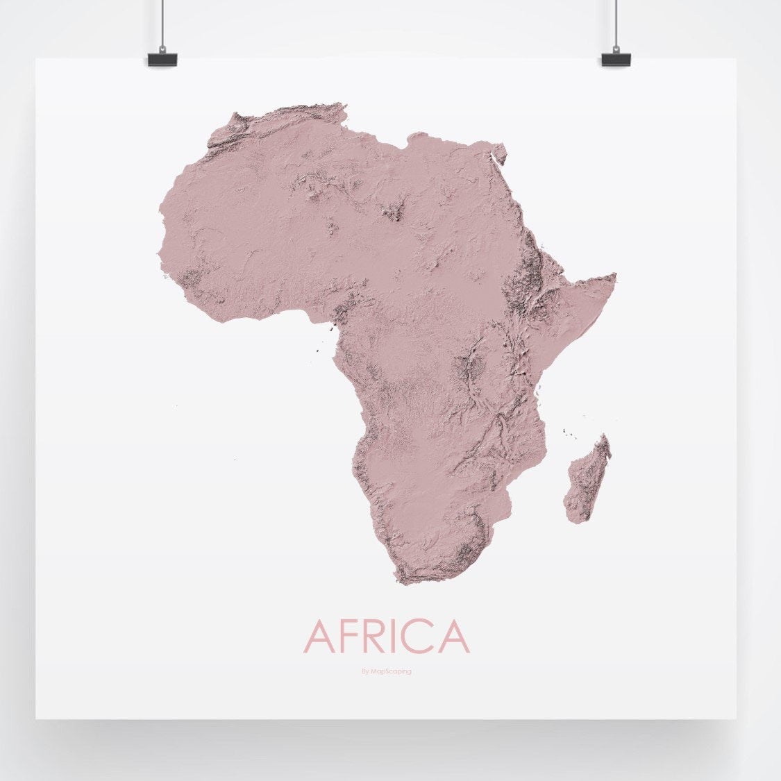 Map Of Africa 3d.Africa Topographic Wall Art Map Mapscaping Com