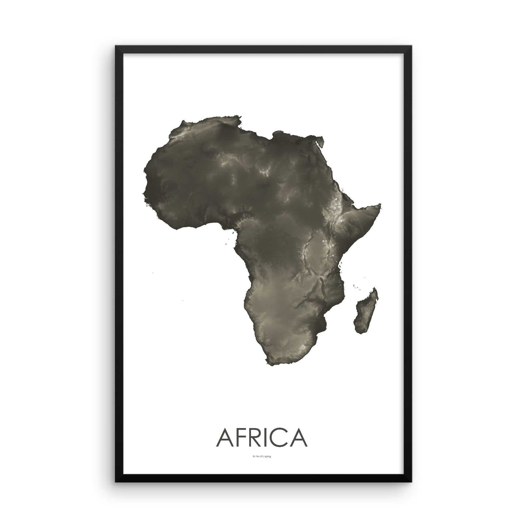 Africa Map Slate-Topographic Map