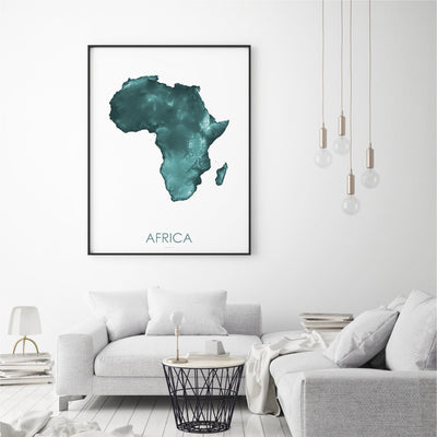 Africa Map Teal-Topographic Map