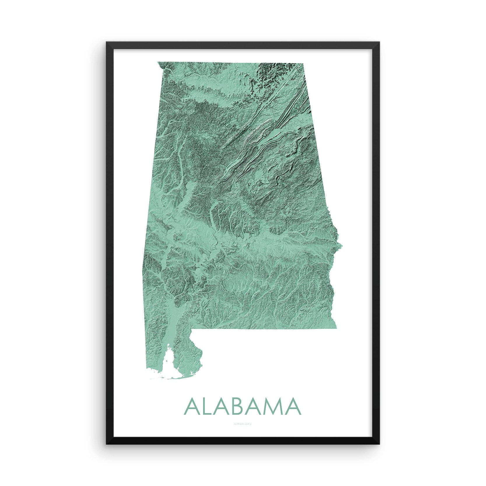 Alabama Map 3D Mint-Topographic Map