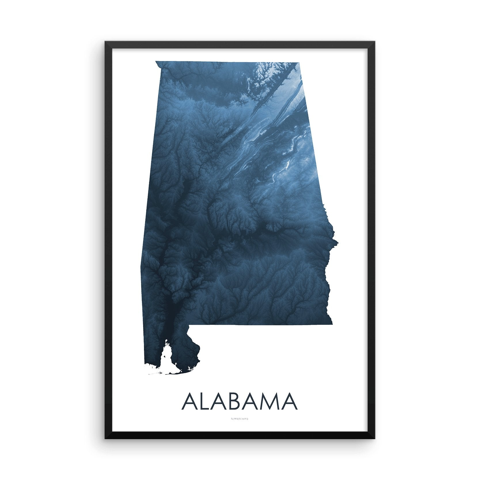 Alabama Map Midnight Blue-Topographic Map