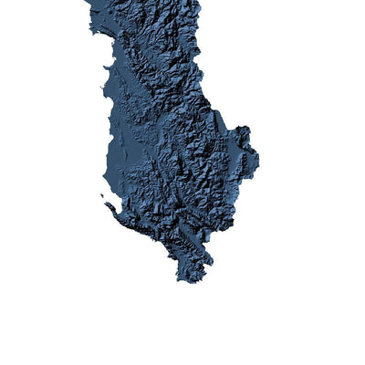 Detailed wall map of the landscape of Albania - map art of Albania in blue