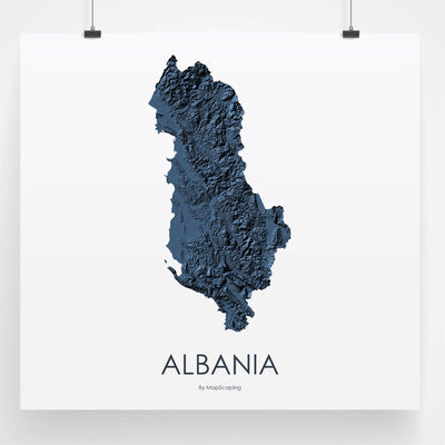 elevation map of Albania in blue - the prefact gift