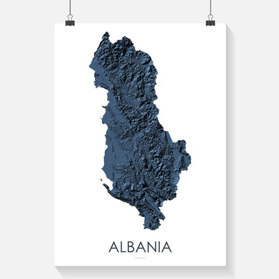 Blue Topographic map of the landscape of Albania- beautiful wall art in blue