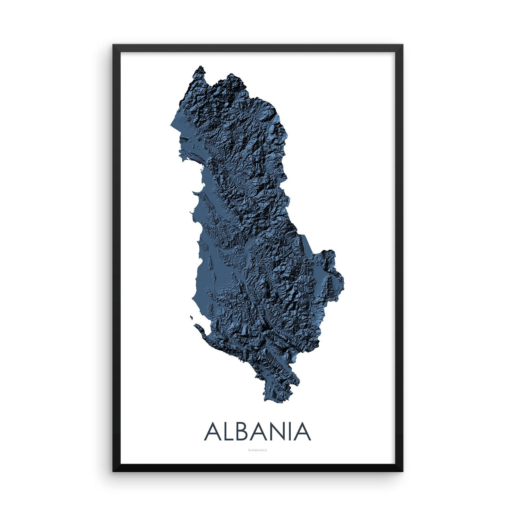 Large Albania Map in Blue - Topographic Map of Albanian landscape