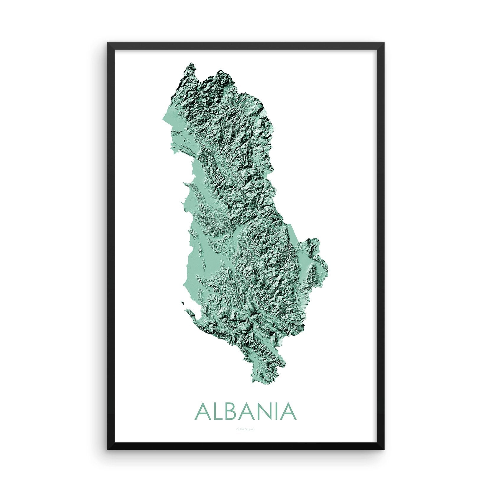 Albania Map 3D Mint-Topographic Map