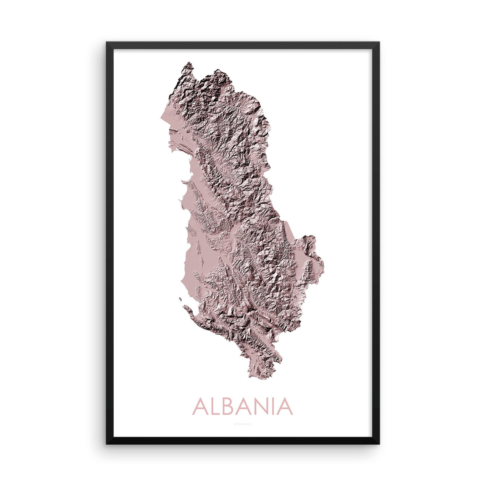 Albania Map 3D Rose-Topographic Map