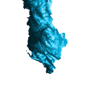 Albania Map Petroleum Blue-Topographic Map
