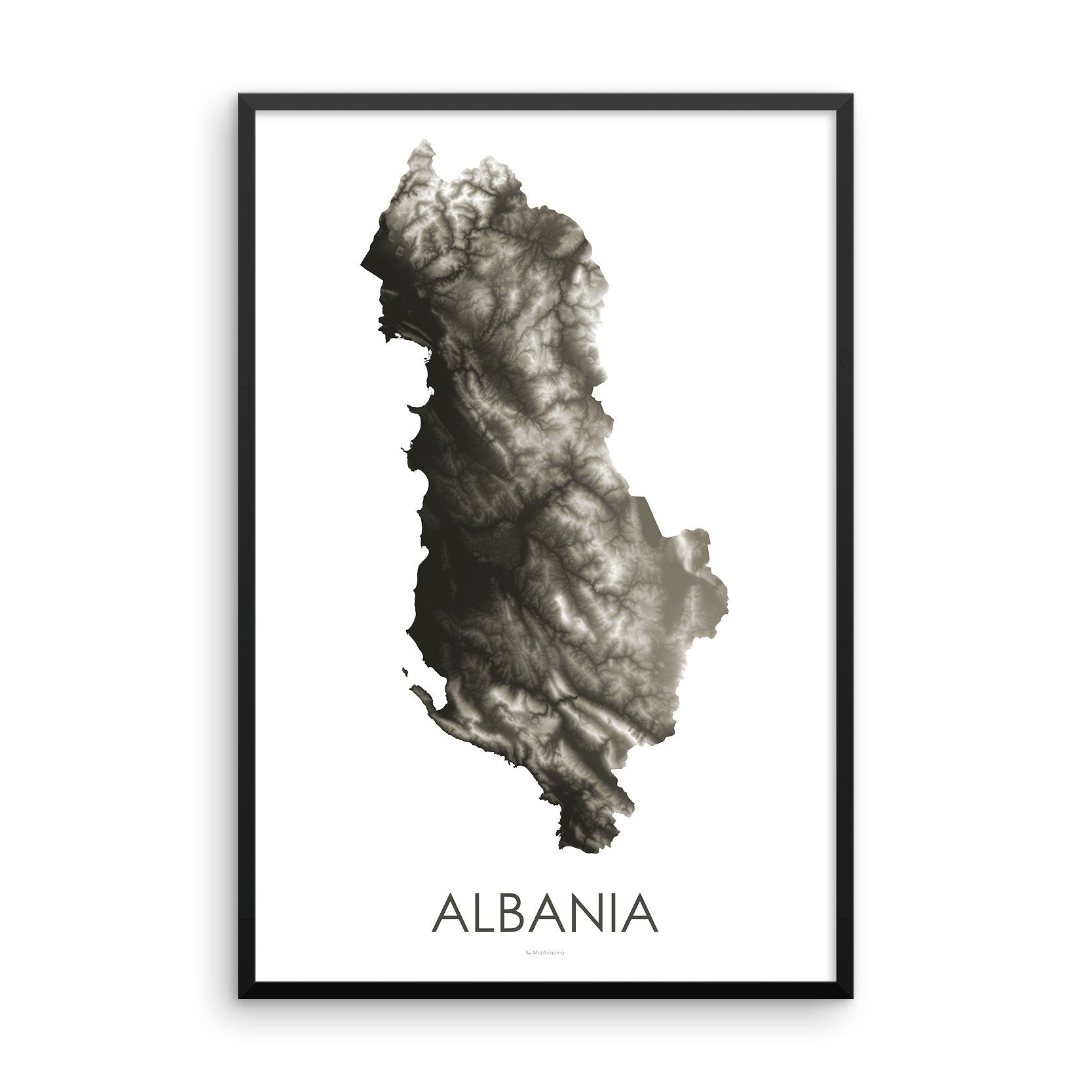 Albania Map Slate-Topographic Map