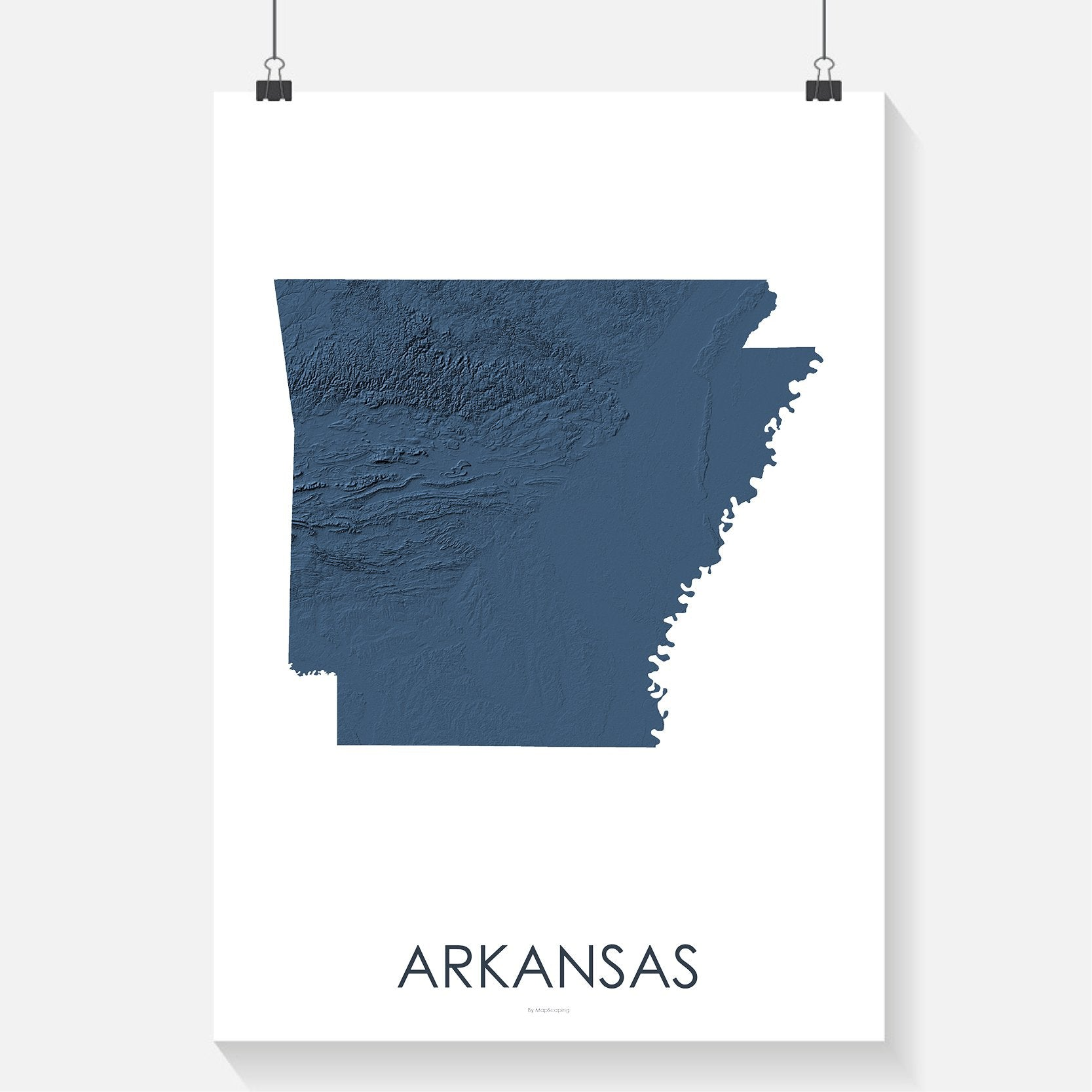 Arkansas topographic wall art map - MapScaping.com