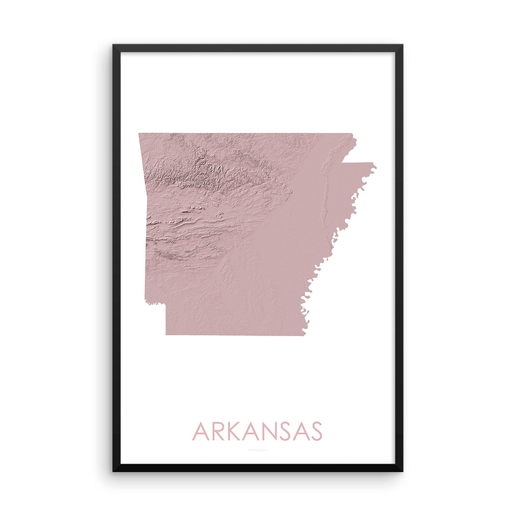 Arkansas Map 3D Rose-Topographic Map