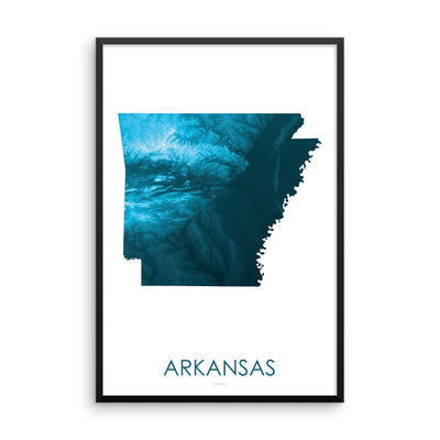 Arkansas Map Petroleum Blue-Topographic Map