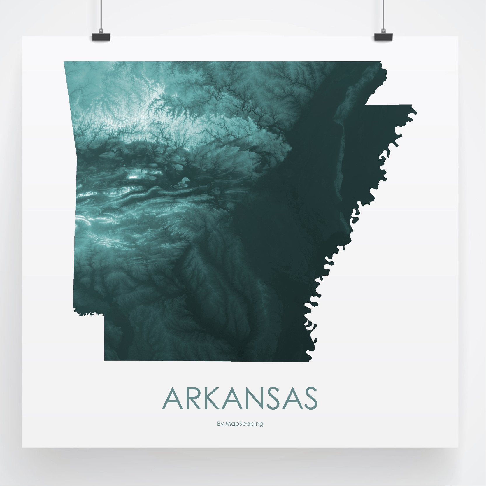 Arkansas topographic wall art map - MapScaping.com -Topographic map ar