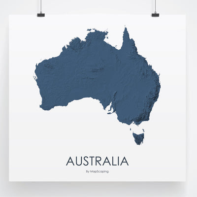 Australia Map 3D Midnight Blue-Topographic Map