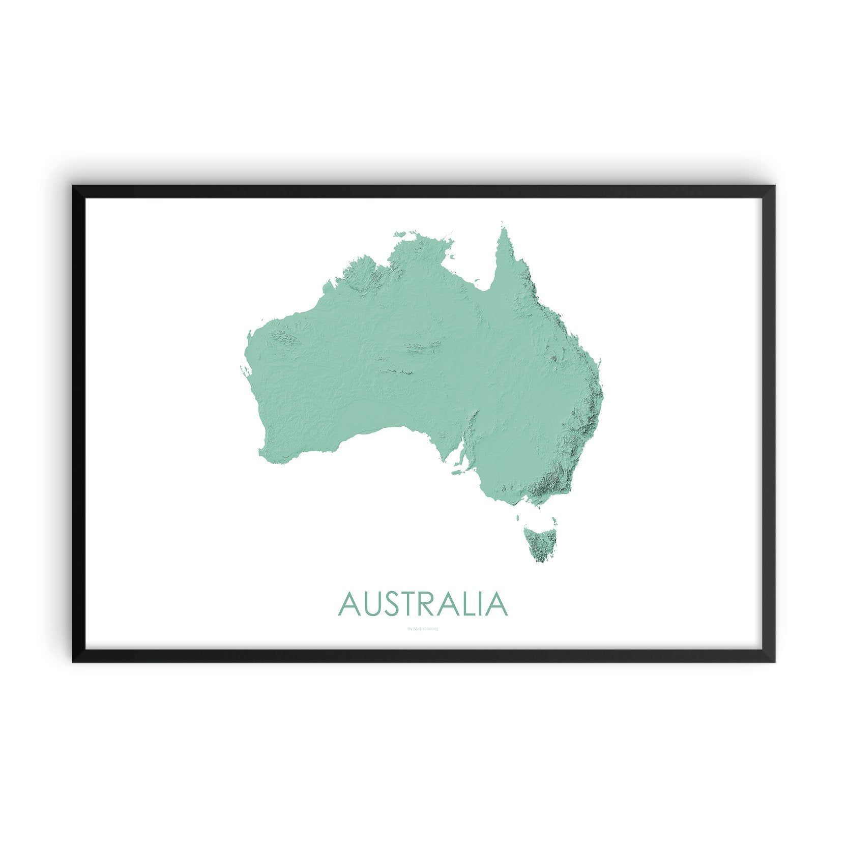 Australia Map 3D Mint-Topographic Map