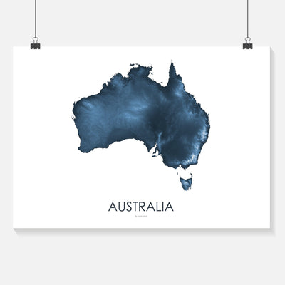 Australia Map Midnight Blue-Topographic Map