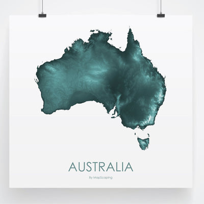 Australia Map Teal-Topographic Map