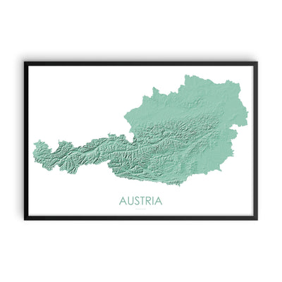 Austria Map 3D Mint-Topographic Map