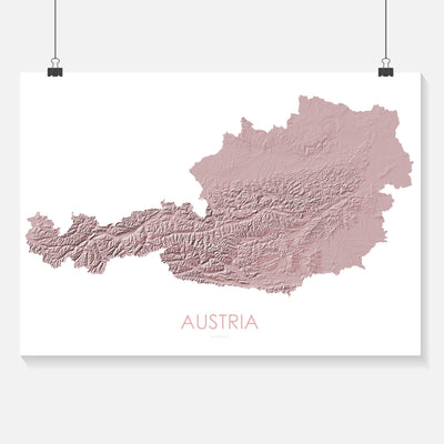 Austria Map 3D Rose-Topographic Map