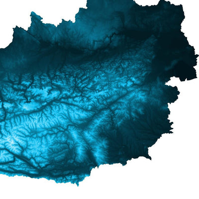 Austria Map Petroleum Blue-Topographic Map