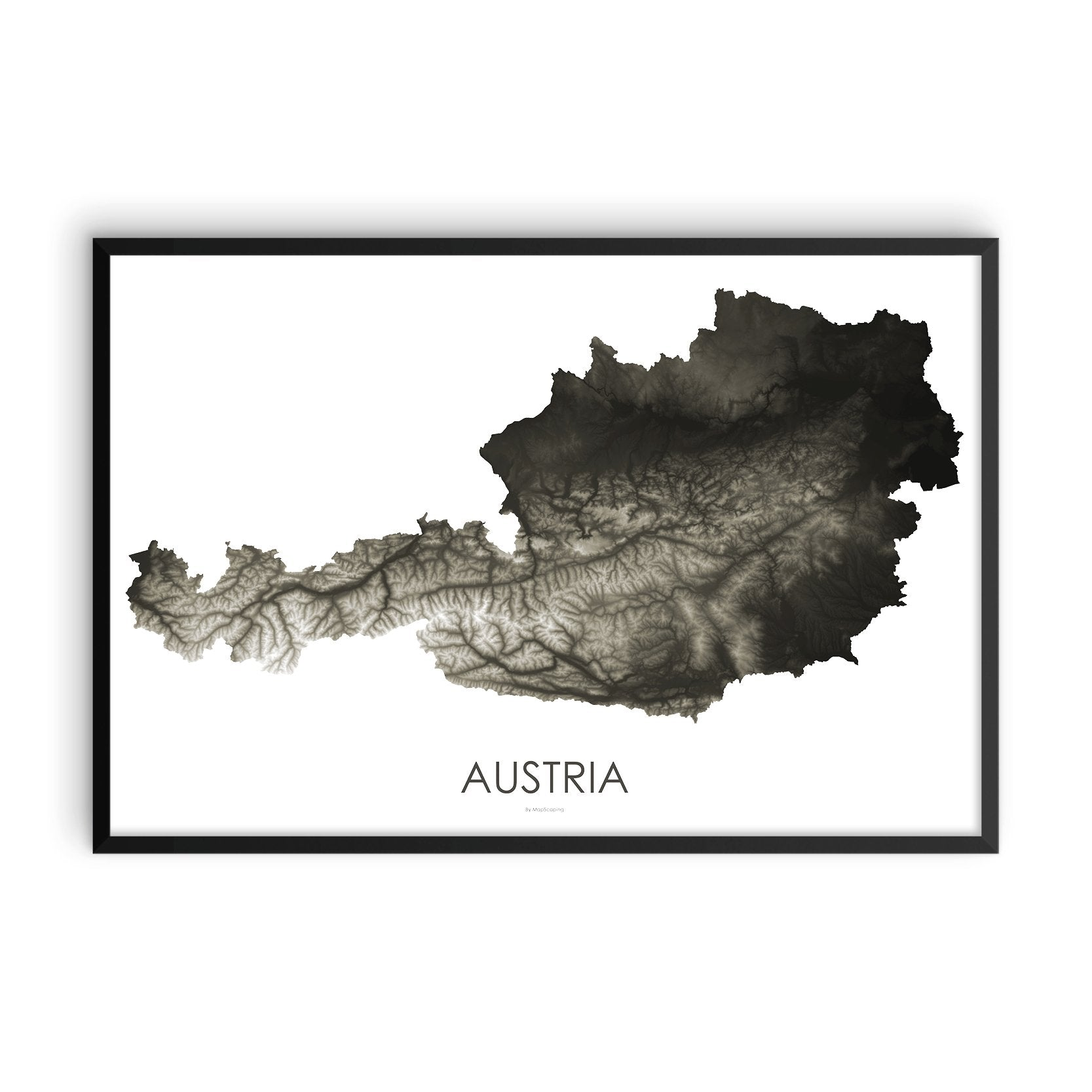 Austria Map Slate-Topographic Map
