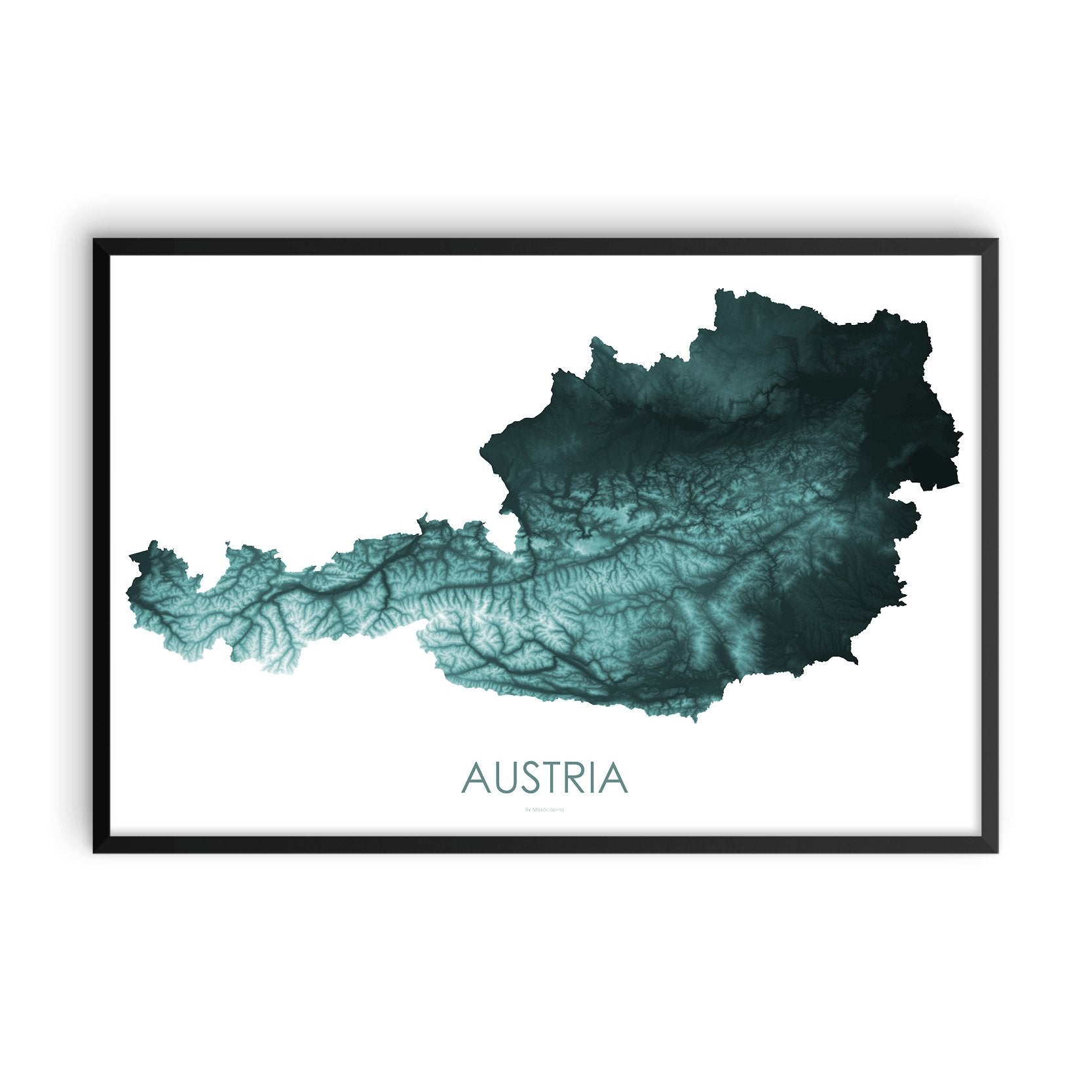 Austria Map Teal-Topographic Map