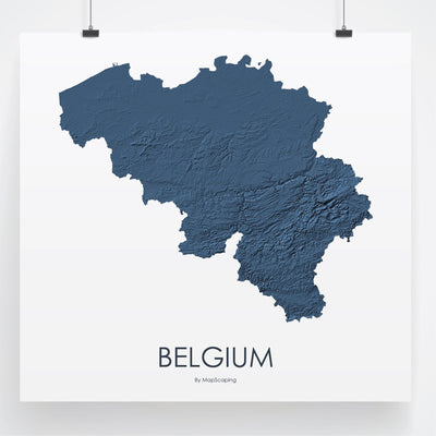 Belgium Map 3D Midnight Blue-Topographic Map