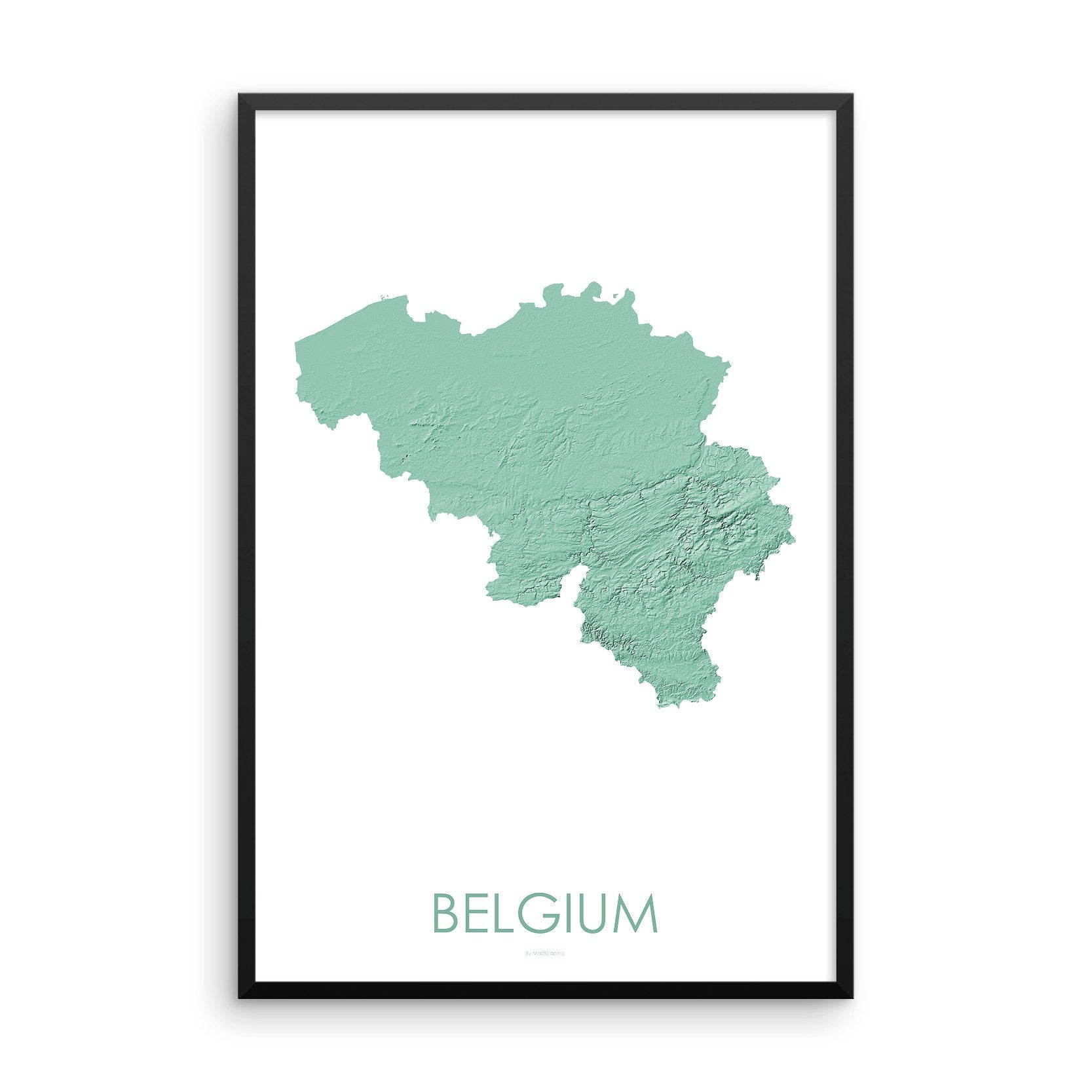 Belgium Map 3D Mint-Topographic Map