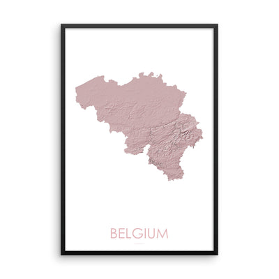Belgium Map 3D Rose-Topographic Map