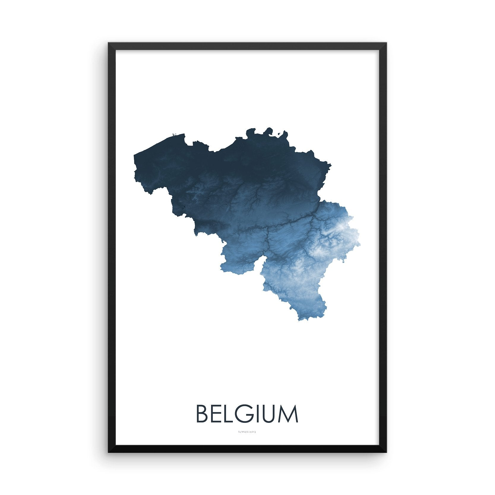 Belgium Map Midnight Blue-Topographic Map