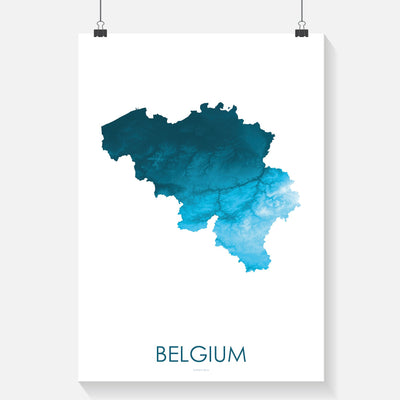 Belgium Map Petroleum Blue-Topographic Map