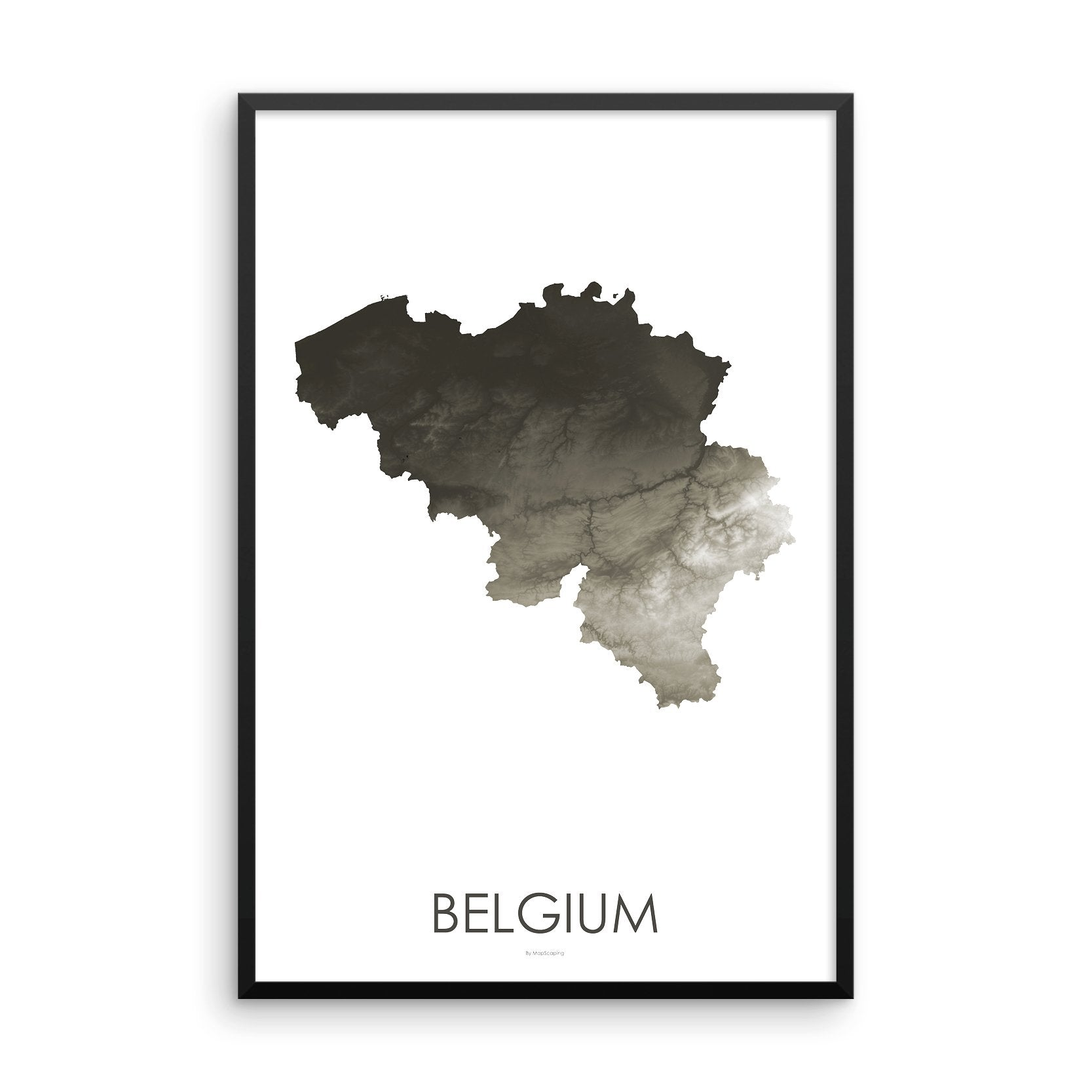 Belgium Map Slate-Topographic Map