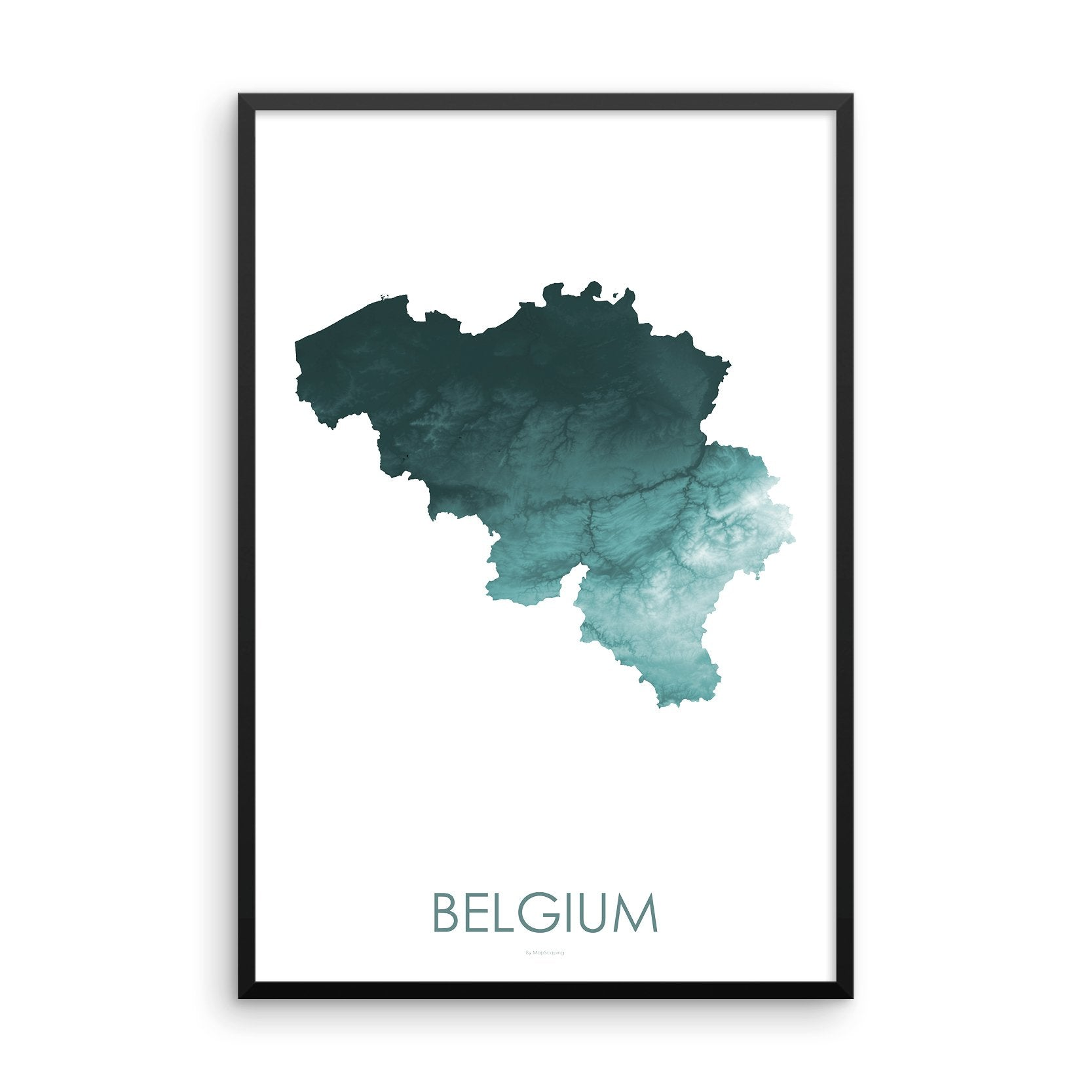 Belgium Map Teal-Topographic Map