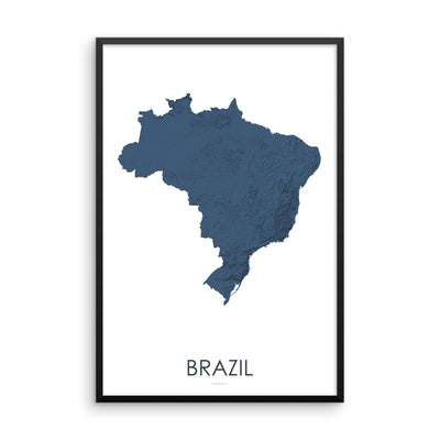 Brazil Map 3D Midnight Blue-Topographic Map