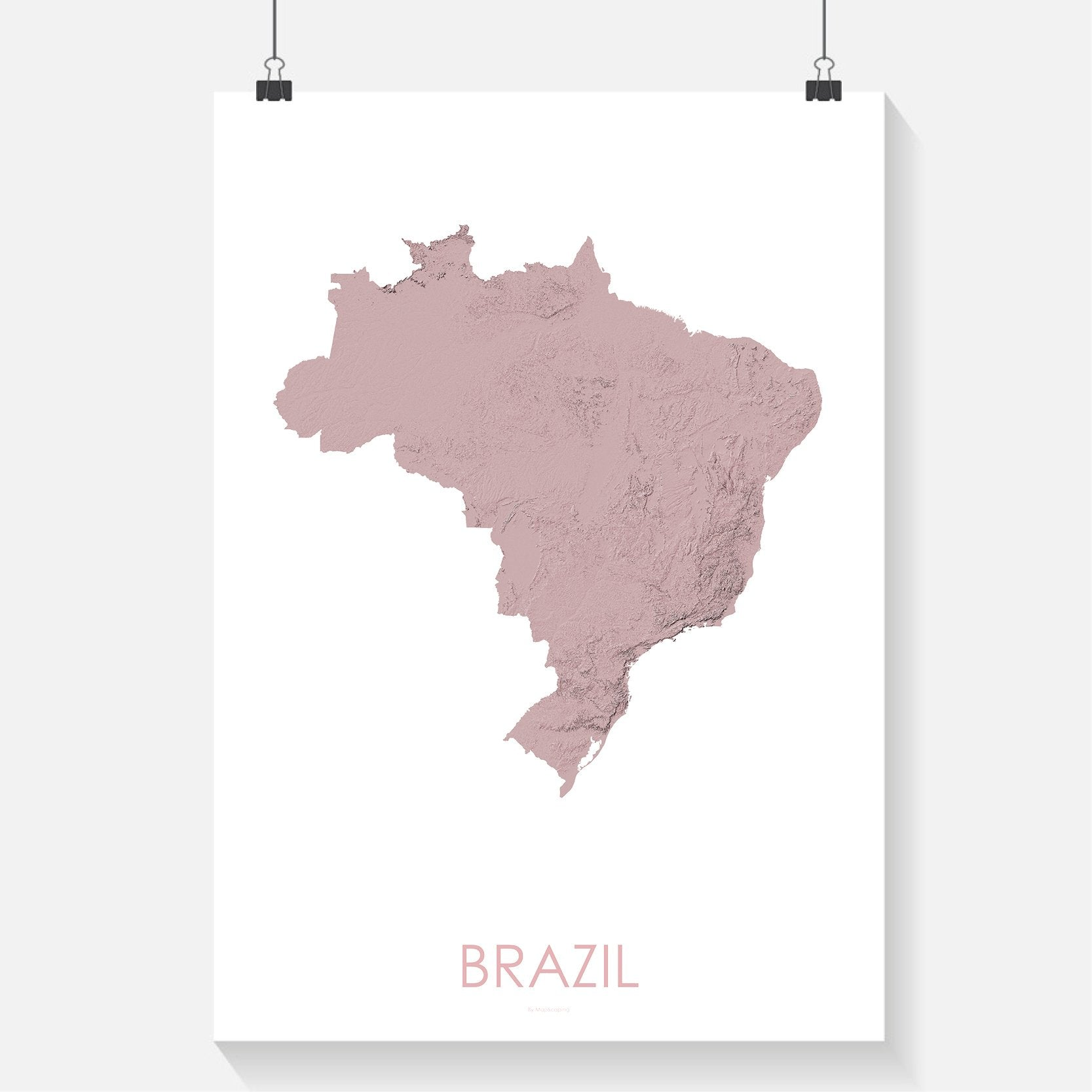 Brazil Topographic Wall Art Map Mapscaping Com