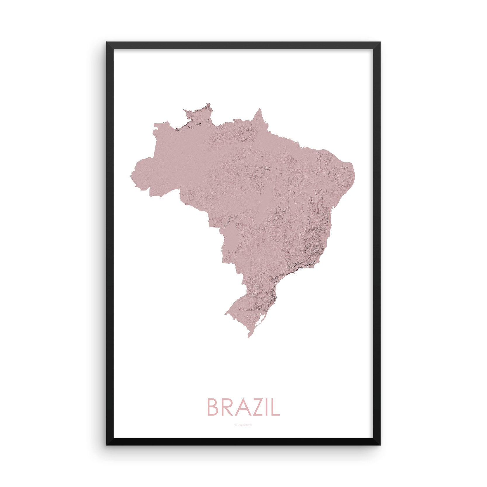 Brazil Map 3D Rose-Topographic Map