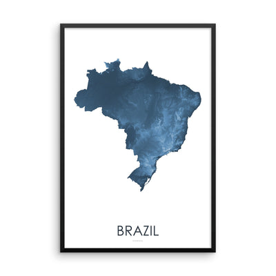 Brazil Map Midnight Blue-Topographic Map