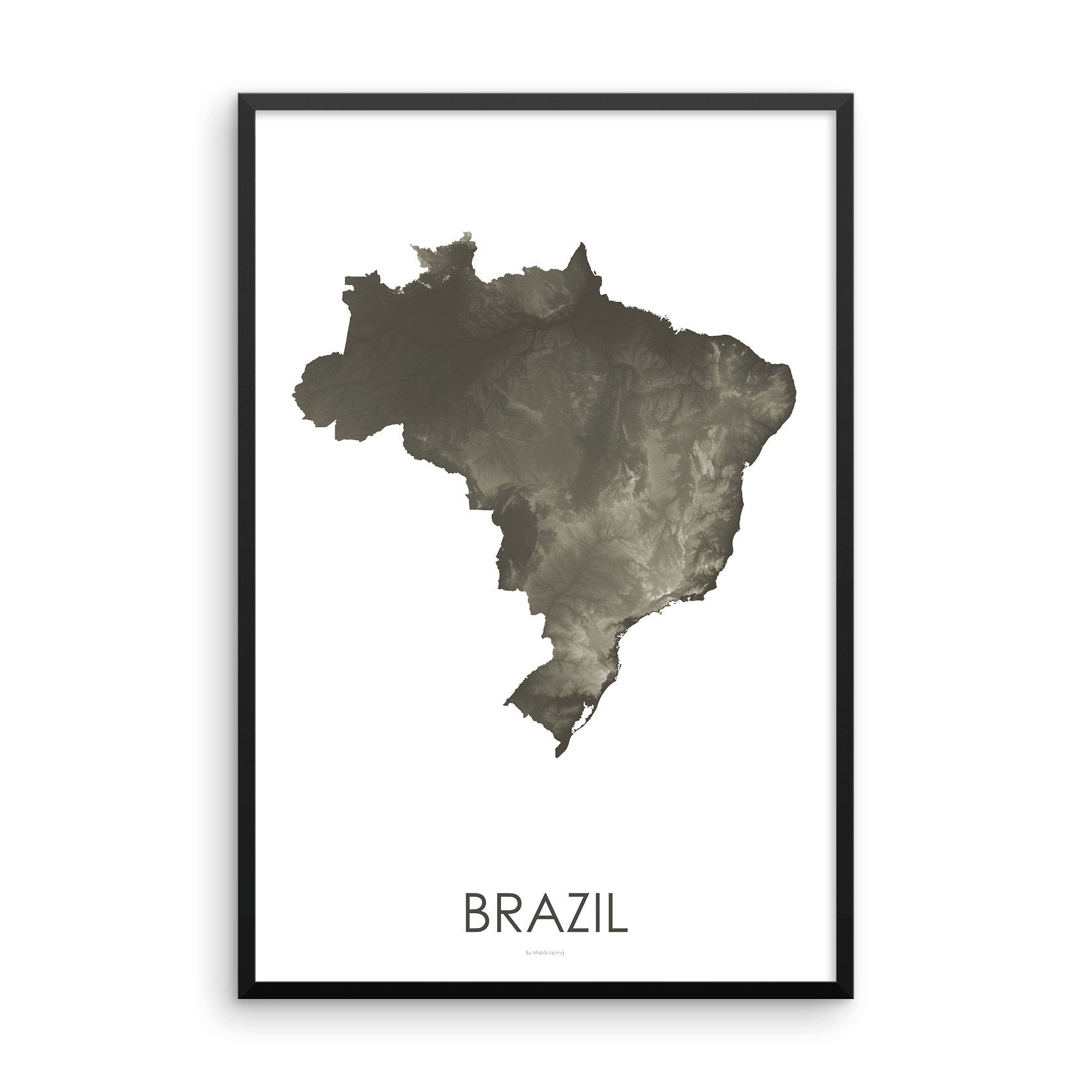 Brazil Map Slate-Topographic Map