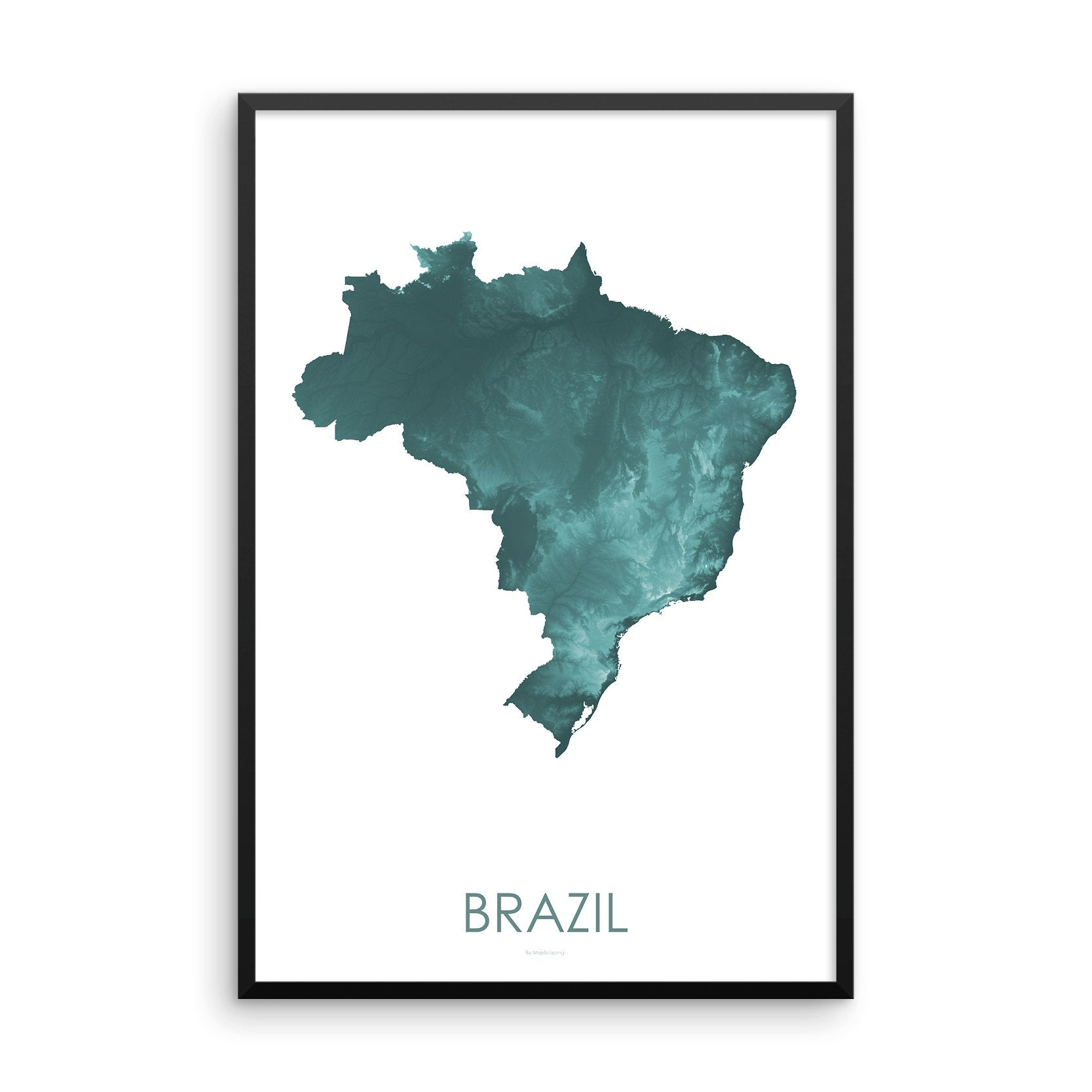 Brazil Map Teal-Topographic Map