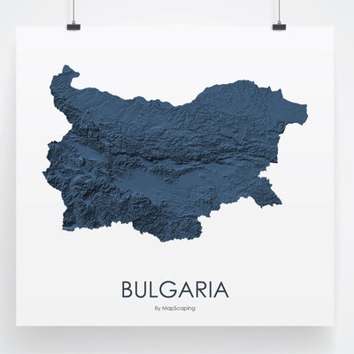Bulgaria Map 3D Midnight Blue-Topographic Map