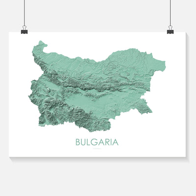 Bulgaria Map 3D Mint-Topographic Map