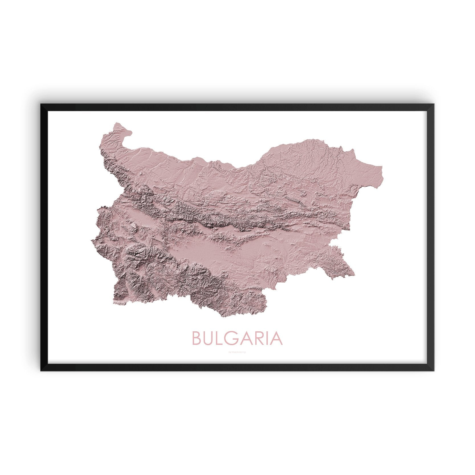 Bulgaria Map 3D Rose-Topographic Map
